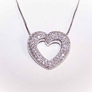 ESTATE 14K Gold & 1CT TW Diamond Heart Pendant on 18K Gold Chain!