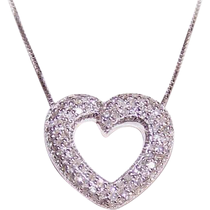 ESTATE 14K Gold & 1CT TW Diamond Heart Pendant!