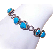 Vintage Mexican STERLING SILVER & Turquoise Link Bracelet!