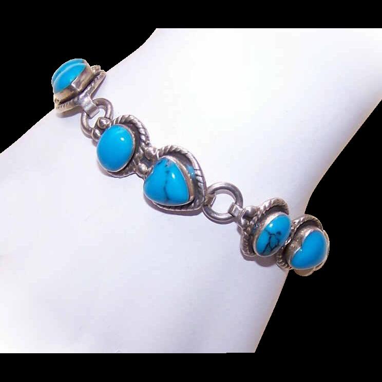 Vintage Mexican STERLING SILVER & Turquoise Link Bracelet!