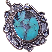 Vintage Native American/Southwest Indian STERLING SILVER & Turquoise Pendant!