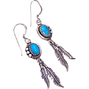 Vintage Native American/Navajo STERLING SILVER & Turquoise Feather Drop Earrings!