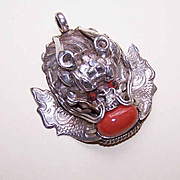 Vintage CHINA SILVER, Enamel & Red Coral Dragon Pendant!