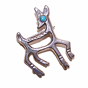 Vintage Native American/Southwest Indian STERLING SILVER & Turquoise Pin/Brooch - Deer!