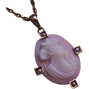 ANTIQUE EDWARDIAN 10K Gold, Pink Shell Cameo & Natural Pearl Pendant/Lavaliere!