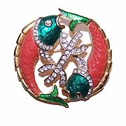 DeNicola Gold Tone Metal, Enamel & Rhinestone Pin - Zodiac Pisces/Two Fish!