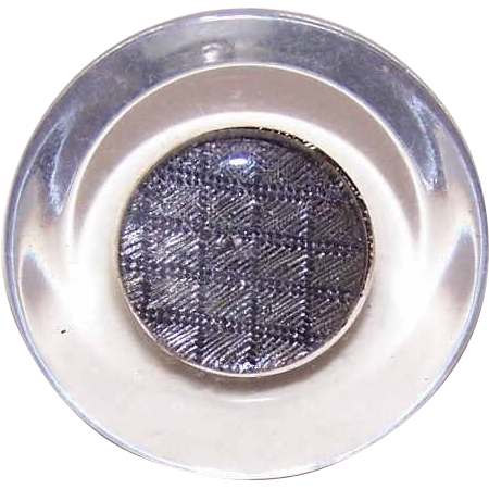 LARGE Vintage Hard Plastic/Lucite Shank Button with Silver Center!