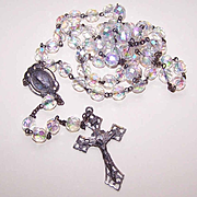 1950s STERLING SILVER & Aurora Borealis Crystal Rosary!