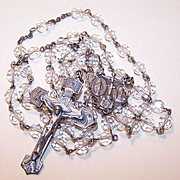 50s STERLING SILVER & Crystal Rosary with Ornate Center Medal & Cross!