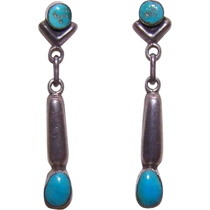 Vintage STERLING SILVER & Turquoise Drop Earrings!