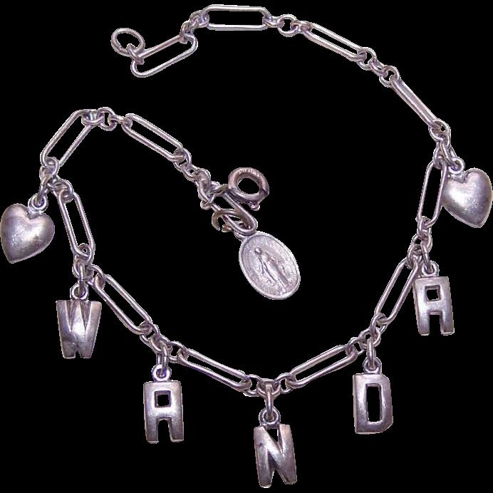 Vintage 1960s Sterling Silver Name Bracelet - WANDA!