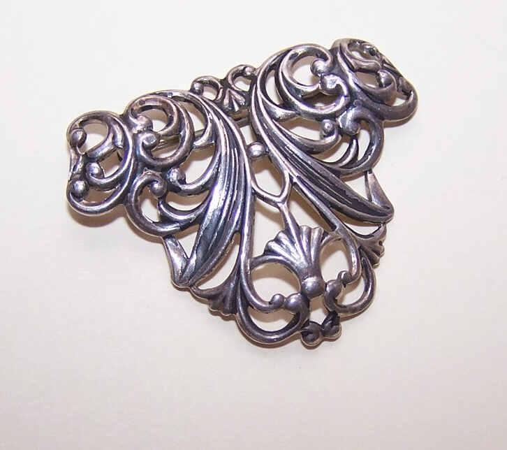Vintage STERLING SILVER Filigree-Like Curlicue Pin/Brooch!