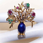 Breathtaking VINTAGE 18K Gold, Enamel & .81CT TW Gemstone GIARDINETTI Pin/Brooch!