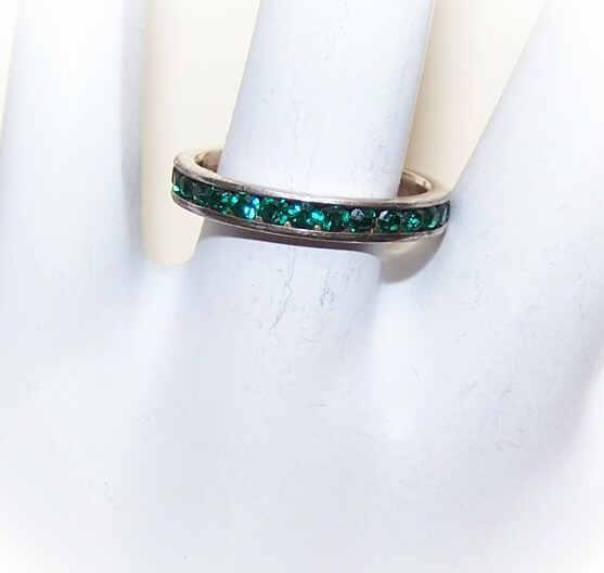 Vintage STERLING SILVER Eternity Band with Green Rhinestones!