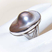 Vintage STERLING SILVER & Grey Blister Pearl Fashion Ring!