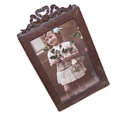 Vintage VICTORIAN ERA Gilt Brass Rectangular Photo Frame with Bow Top & Florals!