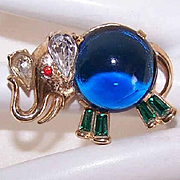 Vintage TRIFARI (Alfred Philippe) Gold Tone Metal & Rhinestone Pin/Brooch - Elephant!