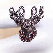 """Vintage STERLING SILVER & Garnet """"Brotherhood of Elks"""" Member Pin!"""