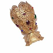 Vintage FRENCH Gilt Metal & Jeweled Religious Candle Holder/Votive Holder!