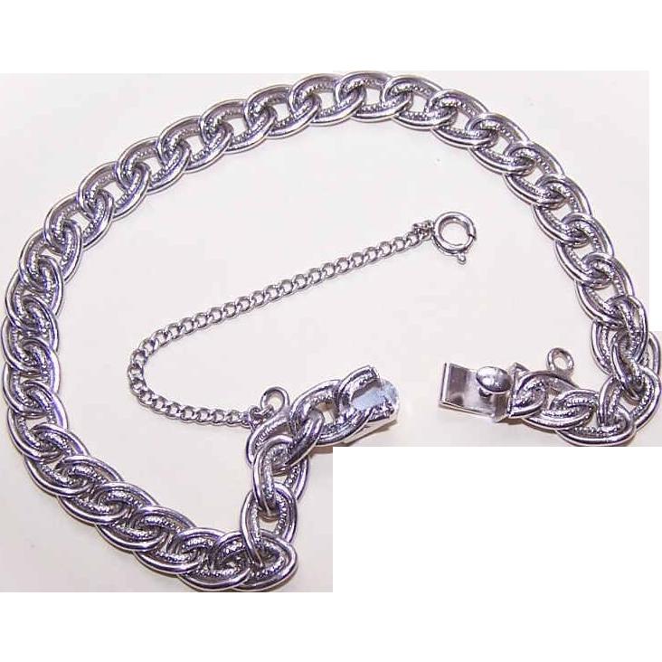 Vintage STERLING SILVER Double-Link Starter Charm Bracelet!
