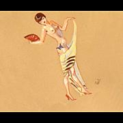 ORIGINAL C.1930 Art Deco Watercolor on Paper - Nude Lady of Fashion!