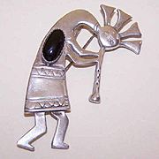 Vintage STERLING SILVER & Black Onyx Kokopelli Pin/Brooch!