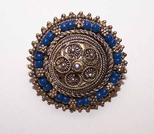Vintage Israel STERLING SILVER Vermeil & Blue Bead Filigree Pin/Pendant Combo!