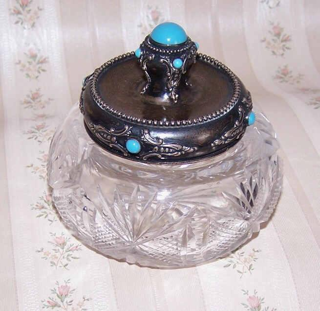 C.1930 ART DECO Sterling Silver, Glass Cab & Cut Crystal Dresser Jar/Container!