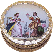 C.1870 Round FRENCH EGLOMISE Bon Bon Box - A Pair of Courtly Lovers!