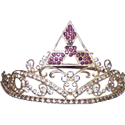 Adjustable C.1940 THEATRICAL or Masonic Group Tiara/Crown - Gilt Metal & Rhinestones!