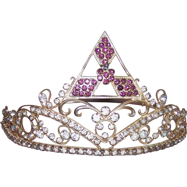 Adjustable C.1940 THEATRICAL or Masonic Group Tiara/Crown - Gilt Metal & Rhinestones!