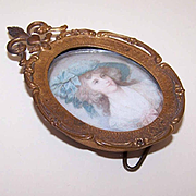 Antique GILT BRASS Metal Frame with Fleur de Lis & Duchess of Devonshire Print!