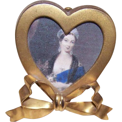 C.1890 GILT METAL Miniature Picture Frame - Heart Shape with Bow!
