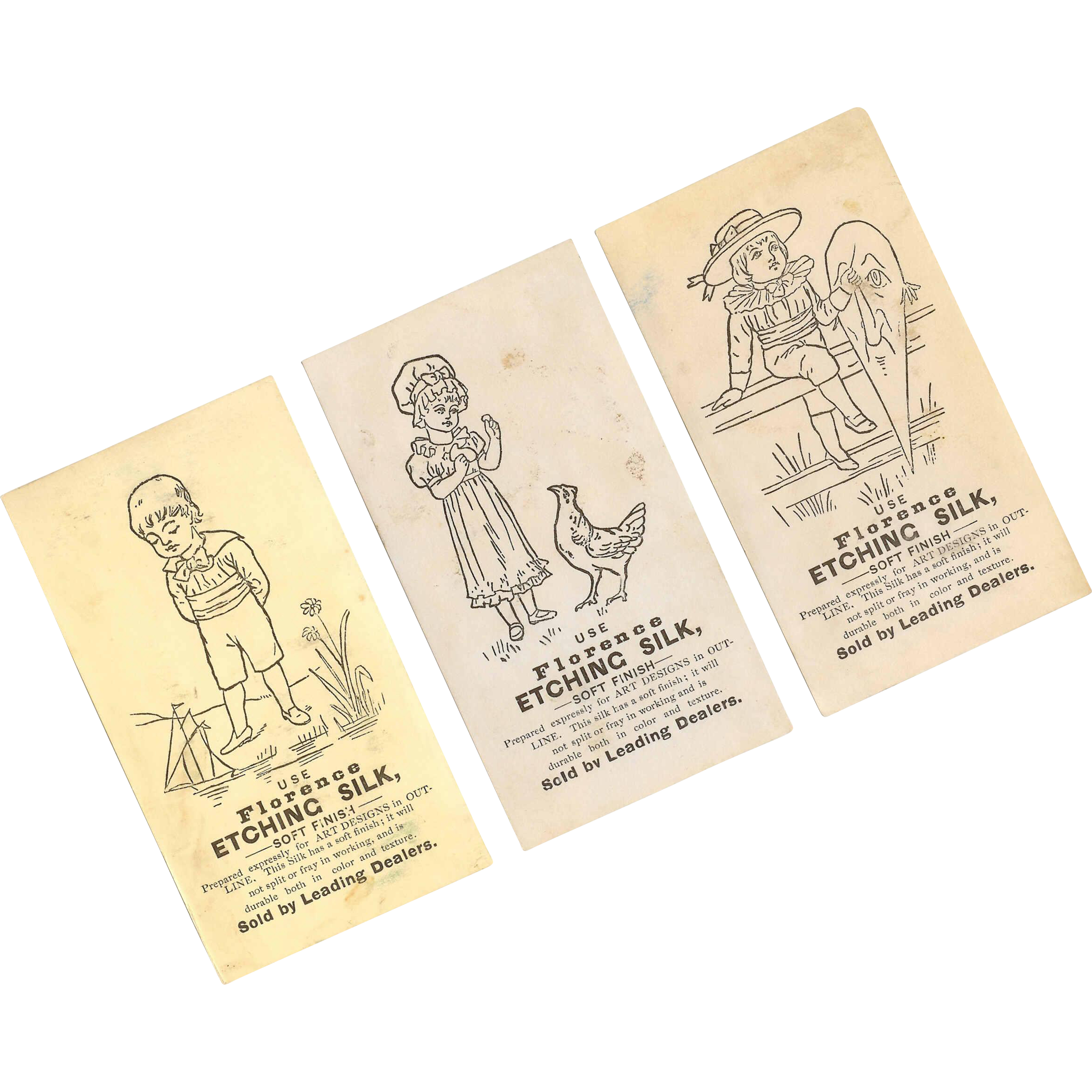Set of 3 ANTIQUE VICTORIAN Advertising Trade Cards - Florence Etching Silk!