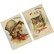 Pair ANTIQUE VICTORIAN Trade Cards for Soapine - Gentleman Bulldog & Lady Cat!