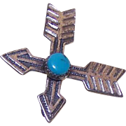 "Vintage STERLING SILVER & Turquoise ""Crossed Arrows"" Pin/Brooch - Southwestern Design!"
