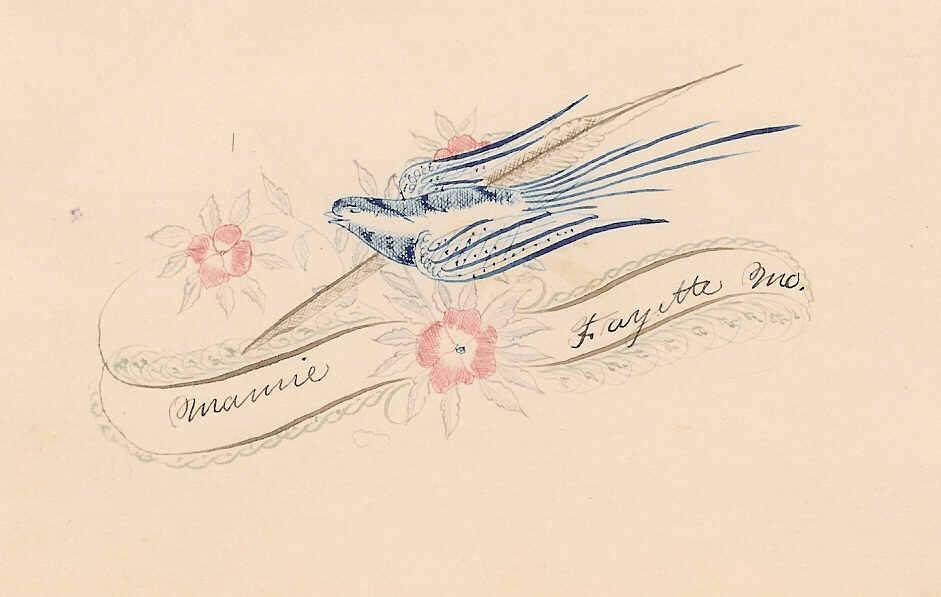 ANTIQUE VICTORIAN Penmanship Autograph Page with Blue Bird!