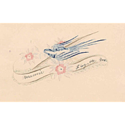 ANTIQUE VICTORIAN Penmanship Autograph Page with Blue Bird!