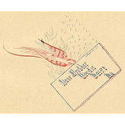 ANTIQUE VICTORIAN Penmanship Autograph Page with Red Bird