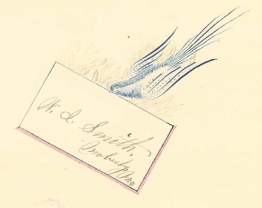 ANTIQUE VICTORIAN Penmanship Autograph Page with Blue Bird
