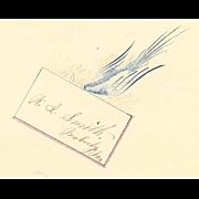 ANTIQUE VICTORIAN Penmanship Autograph Page with Blue Bird