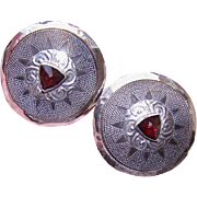 H-U-G-E Vintage 14K Gold, Sterling Silver & Garnet Earrings by Tabra!