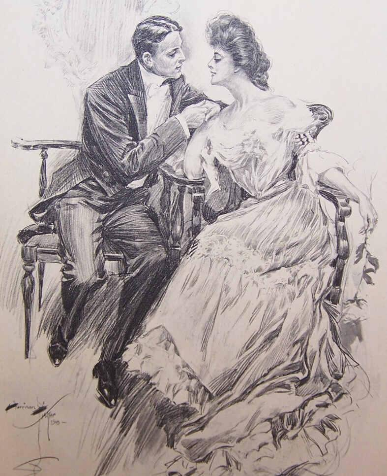Dated 1903 B&W Book Illustration by Harrison Fisher - Courting Lady & Gent!