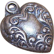 Vintage SILVER Puffy Heart Charm with Same Design Both Sides!