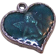 Vintage Silver Tone Metal & Cold Enamel Heart Charm - Raphael's Cupid!