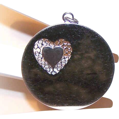 1950s WELLS STERLING Silver Disc Charm/Pendant with Cut-Out Heart!