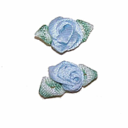 2 VINTAGE French Ribbonwork Roses - Blue Satin with Green Ombre Leaves!