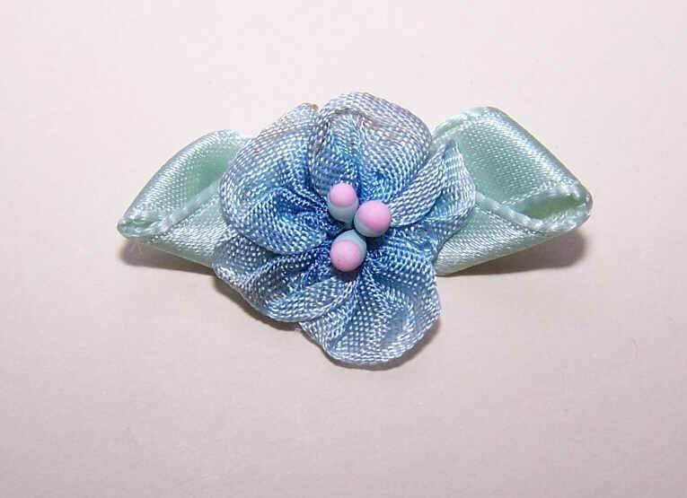 ART DECO French Ribbonwork Rose - Blue Silk Rayon with Mint Green Satin Leaves!