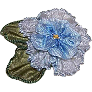 ART DECO French Ribbonwork Rose - Blue Silk Rayon with Green Ombre Leaves!