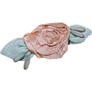 ART DECO French Ribbonwork Rose - Cream Satin with Mint Green Grosgrain Leaves!